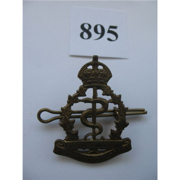 ROYAL CANADIAN ARMY MEDICAL CORP CAP BADGE - KINGS CROWN