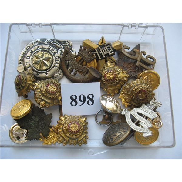 LARGE LOT OF MILITARY BADGES and BUTTONS