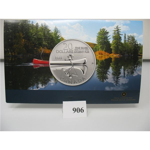 2011 CANADIAN $20 SILVER COIN - .9999 PURE SILVER - CANOE