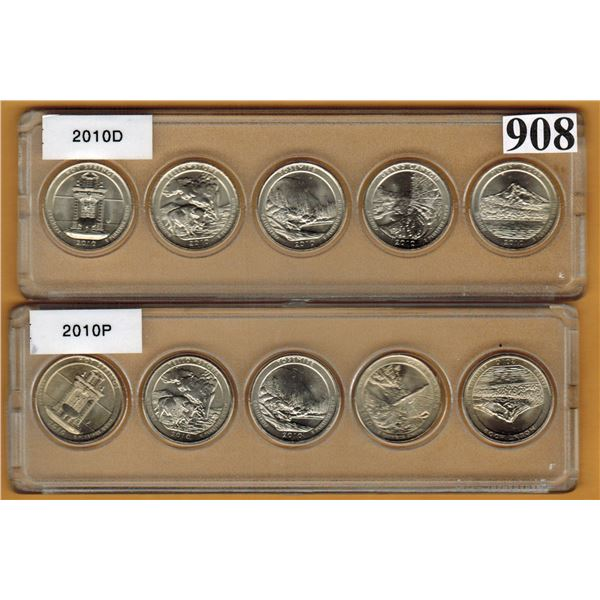 2010 UNTIED STATES NATIONAL PARKS QUARTER SETS - P & D MINT MARKS - Uncirculated