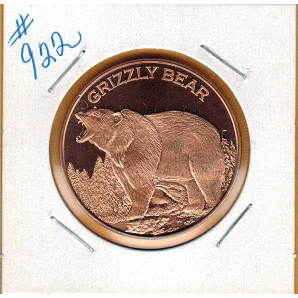 1 OUNCE COPPER  .999 FINE - GRISSLY BEAR