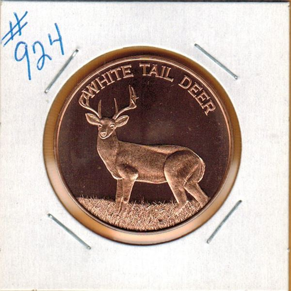 1 OUNCE COPPER  .999 FINE - WHITE TAIL DEER
