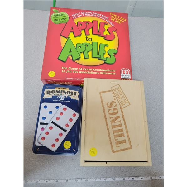 Game night lot - Dominoes, apples to apples & Things - Humor in a box