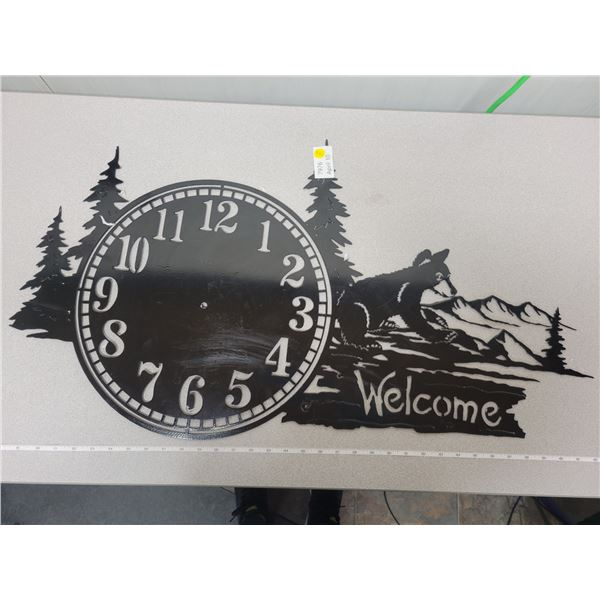 "metal 'welcome' cutout sign ready to be made into a clock 36"" length"