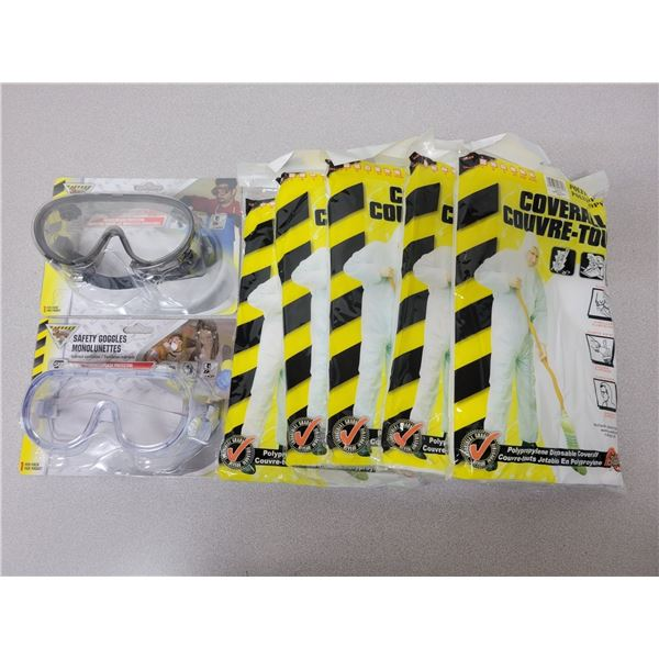 5 disposable coveralls & 2 pairs safety glasses