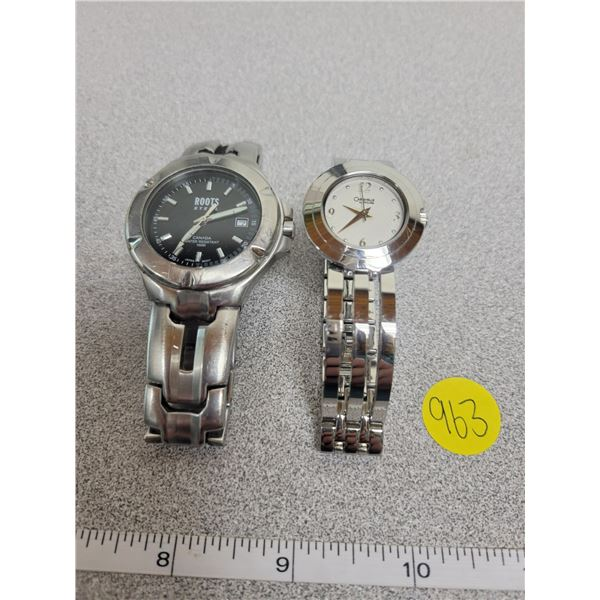 2 watches, mens Roots & ladies Caravelle by Bulova