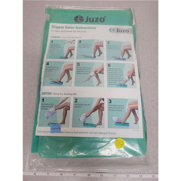 Slippie Gator for open and closed toe compression stockings