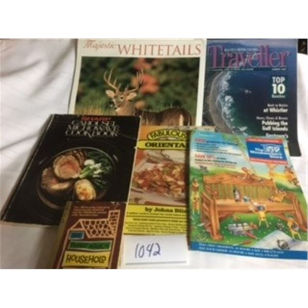 1042-LOT OF 6 COOKBOOKS,CALENDAR, WOODWORKING HANDBOOK, AND BC TRAVEL GUIDE