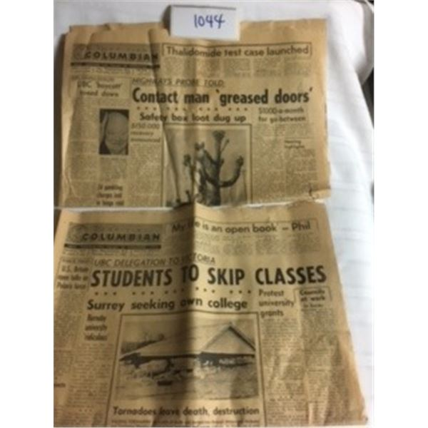 1044-LOT OF 2 THE BRITISH COLUMBIAN NEWSPAPER   MAR12,1963 AND MAR13,1963