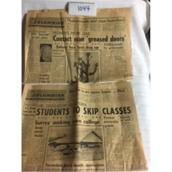 1044-LOT OF 2 THE BRITISH COLUMBIAN NEWSPAPER   MAR12,1963 AND MAR13,1963