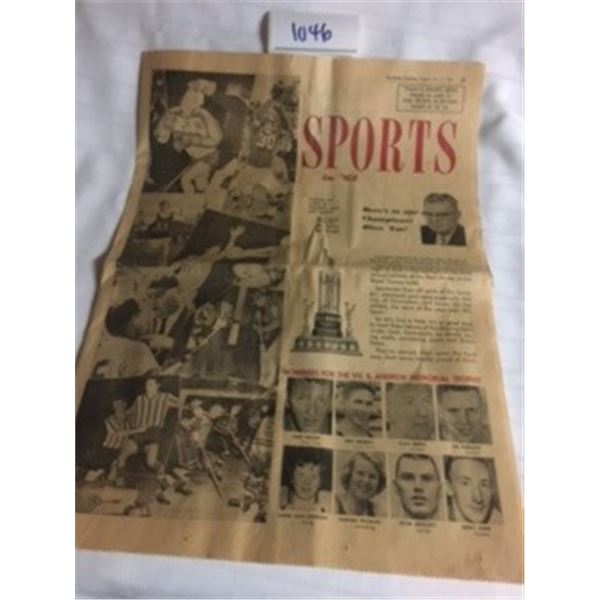 1046-SPORTS IN 1962 SPECIAL EDITION FROM THE BRITISH COLUMBIAN  MARCH 12,1963