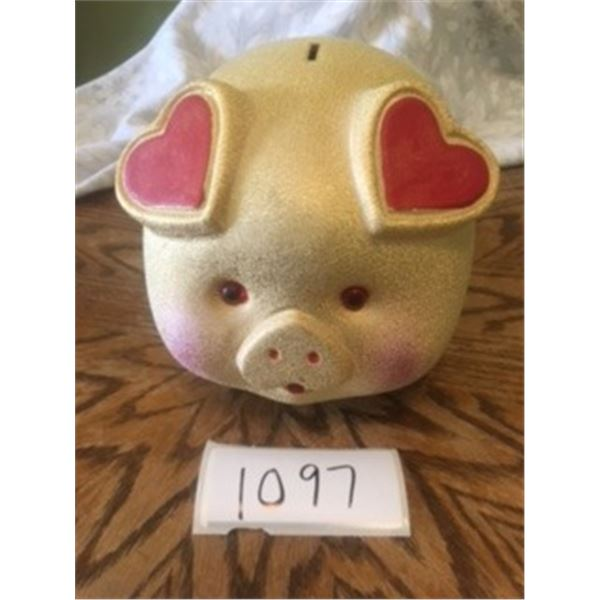 1097-GOLDEN PIG GLASS PIGGY BANK  8X5 INCHES