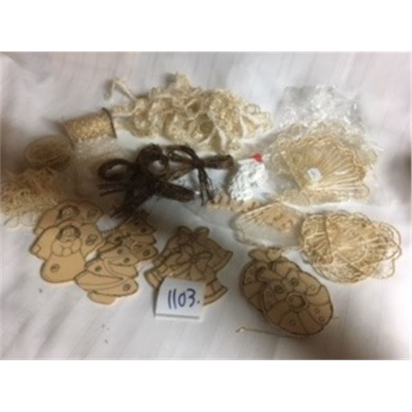 1103-LOT OF CRAFT SUPPLIES CHRISTMAS ANGELS,  VINTAGE ORNAMENTS, BEADS, RIBBONS,  30 COUNT