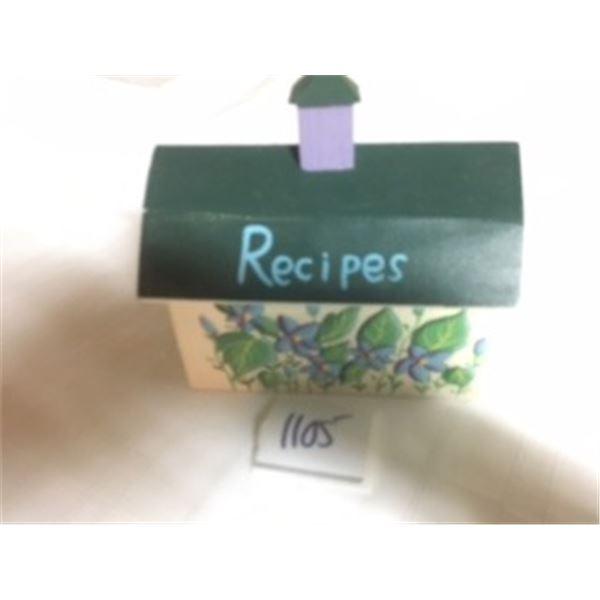 1105-VINTAGE WOODEN HANDPAINTED  RECIPE CARD BOX