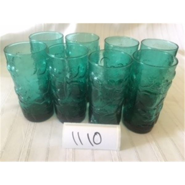 1110-GREEN GLASS FLORAL MOTIF SET OF 8 GLASSES