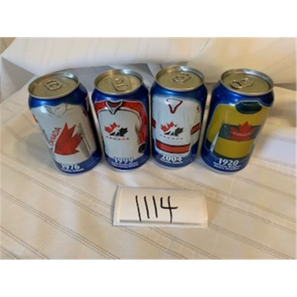 1114-LOT OF 4 PEPSI CAN   MINT FACTORY SEALED    COLLECTIBLES WCH04 NHL. 1976,1999,2004,1920