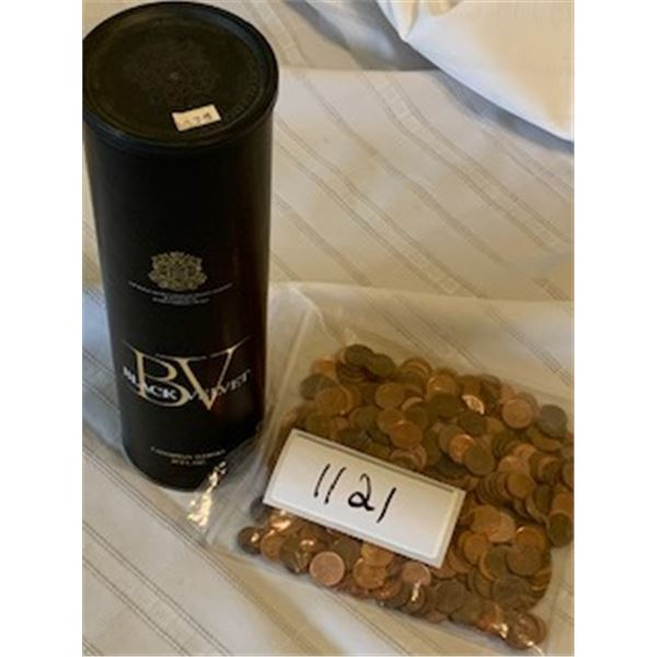 1121-BLACK VELVET WHISKY HOLDER WITH ORIGINAL PRICE TAG. GOOD CONDITION WITH PENNIES