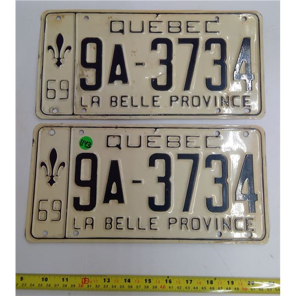 Pair 1969 Quebec Licence Plates