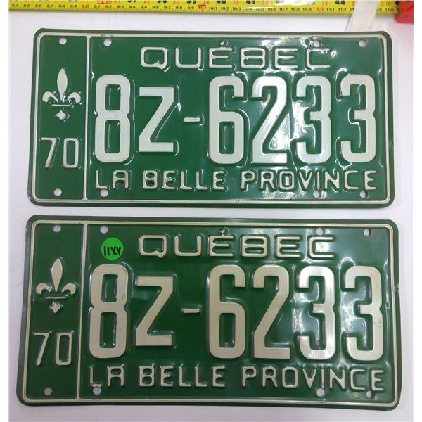 Pair 1970 Quebec Licence Plates