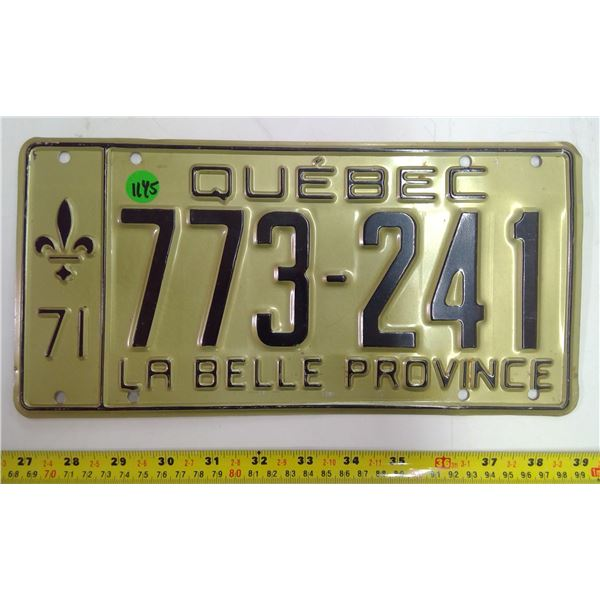 1971 Quebec Licence Plate