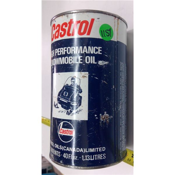 Empty Castrol Snowmobile Quart Oil Can