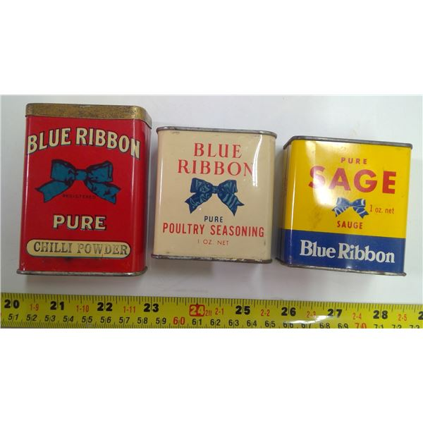 3x Blue Ribbon Spice Tins