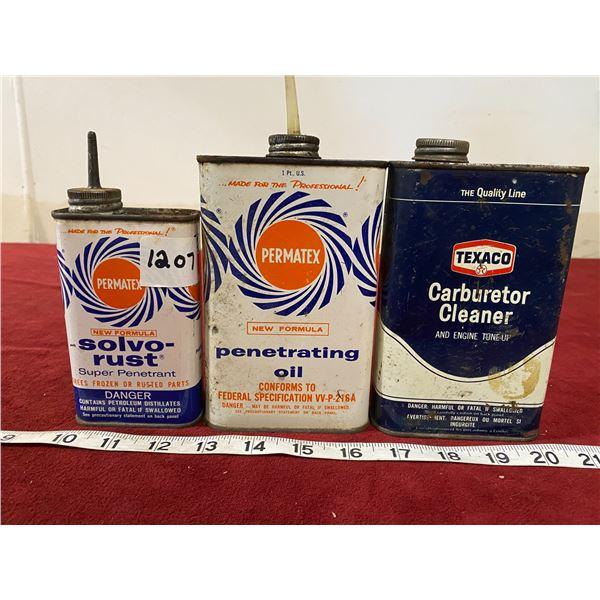 (3) Vintage Tins Lead Top (Texaco)
