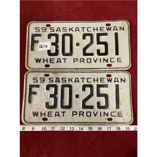 1959 License Plate Set Saskatchewan