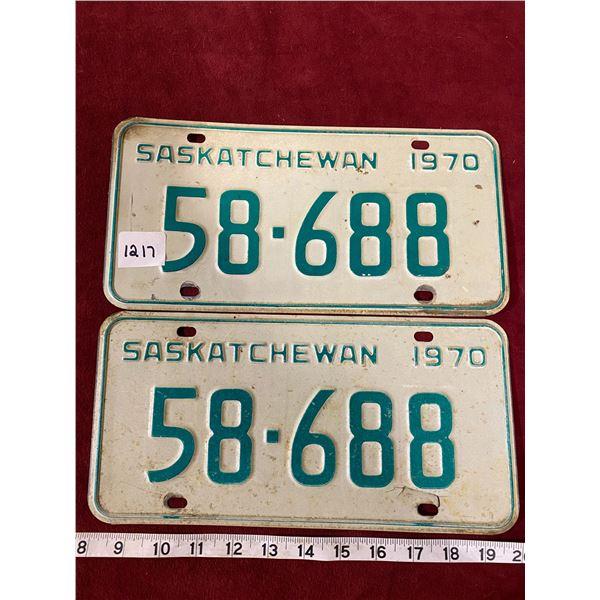 1970 License Plate Set Saskatchewan