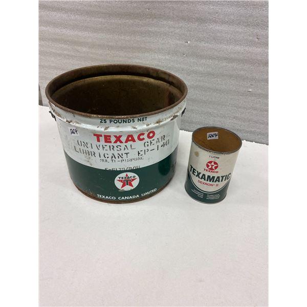 Texaco grease pail & quart can