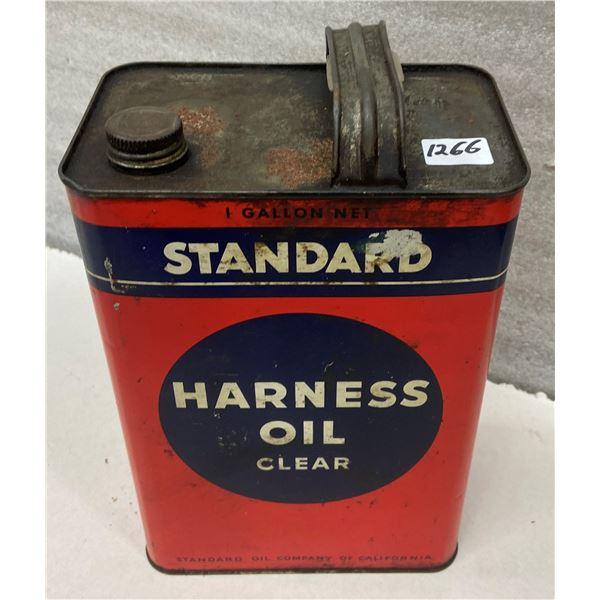 Standard oil tin Harness oil, 1 gallon