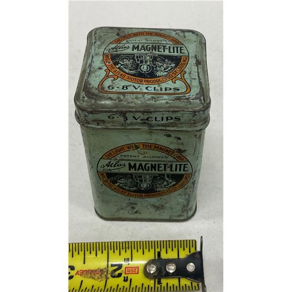 Magnet lite - in original tin 1920's Atlas Motor Products 6 8 volt clips