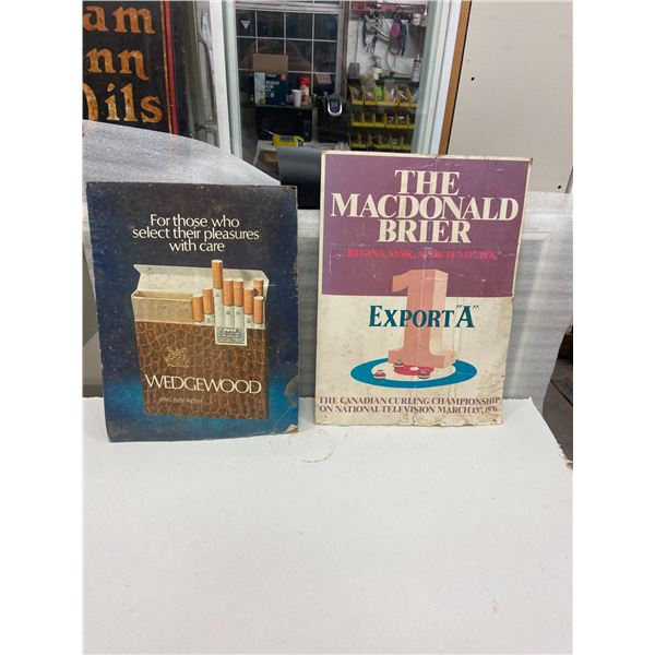 "2 Cardboard tobacco advertising signs 17"" X 23"" - 16"" X 21"""