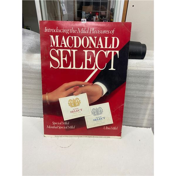 2 Sided cardboard tobacco advertising sign - Macdonald select