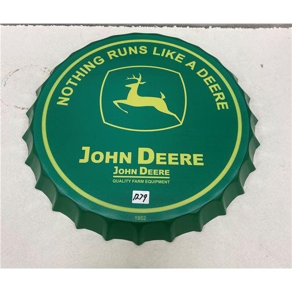 "John Deere tin sign - repro bottle cap style 16"""