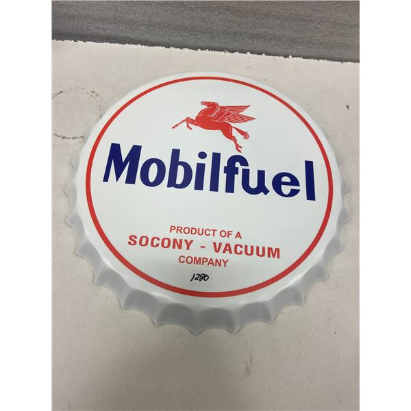 Mobil fuel tin sign - repro bottle cap style 16""