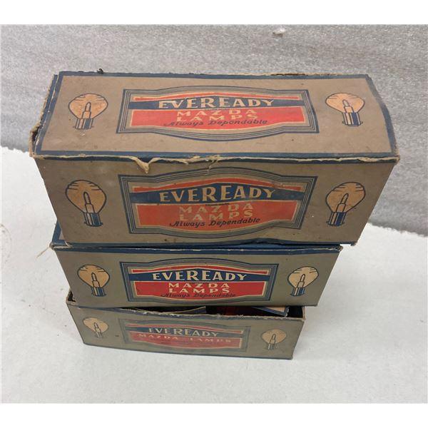 3 boxes Ever Ready Mazda light bulbs original boxes
