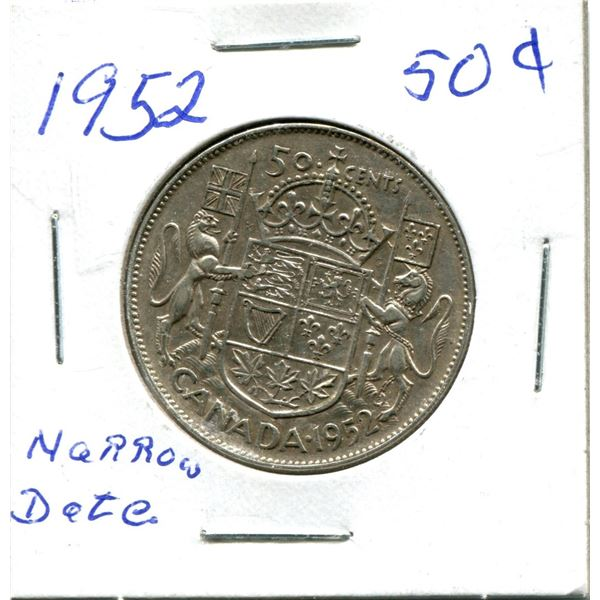 Silver 50 Cent Coin 1952 Narrow Date