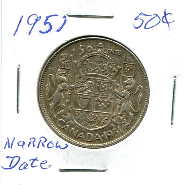 Silver 50 Cent Coin 1951 Narrow Date
