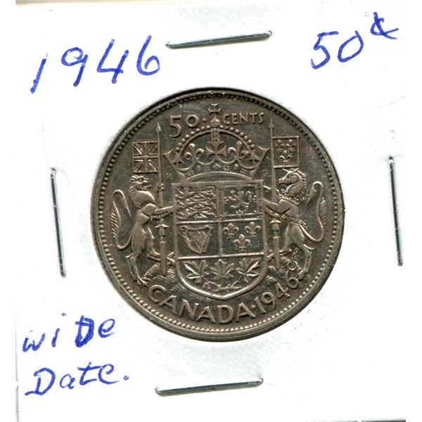 Silver 50 Cent Coin 1946 Wide Date
