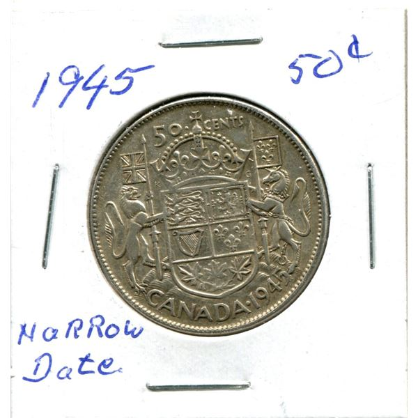 Silver 50 Cent Coin 1945 Narrow Date