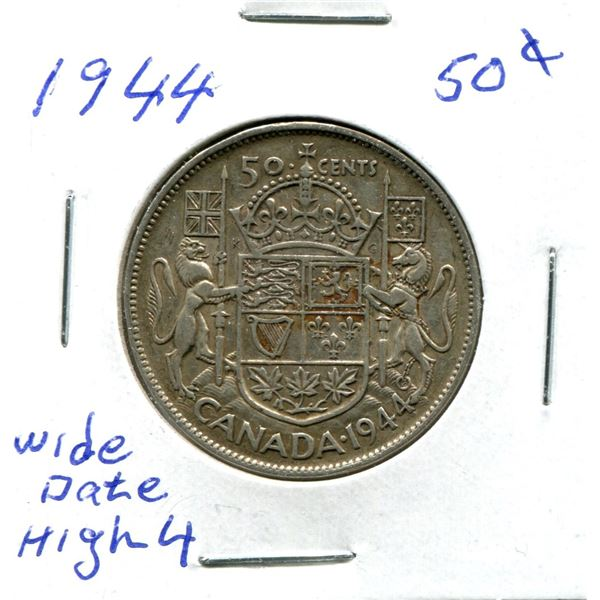 Silver 50 Cent Coin 1944 Wide Date High 4