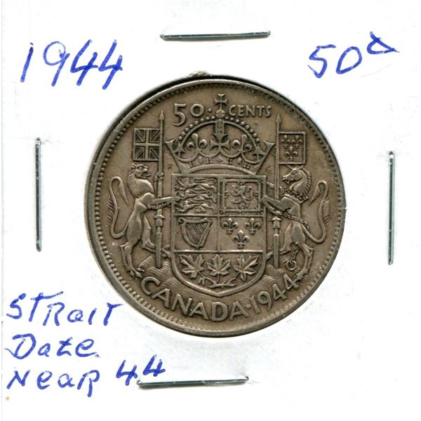 Silver 50 Cent Coin 1944 Straight Date Near 44