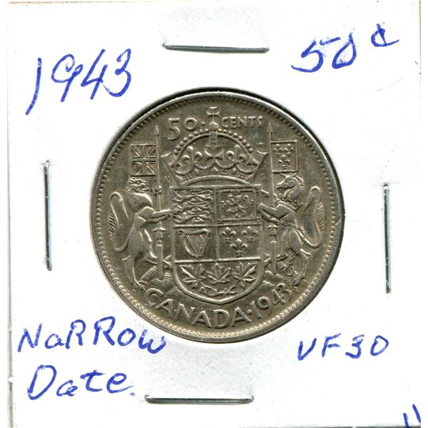 Silver 50 Cent Coin 1943 Narrow Date vf30