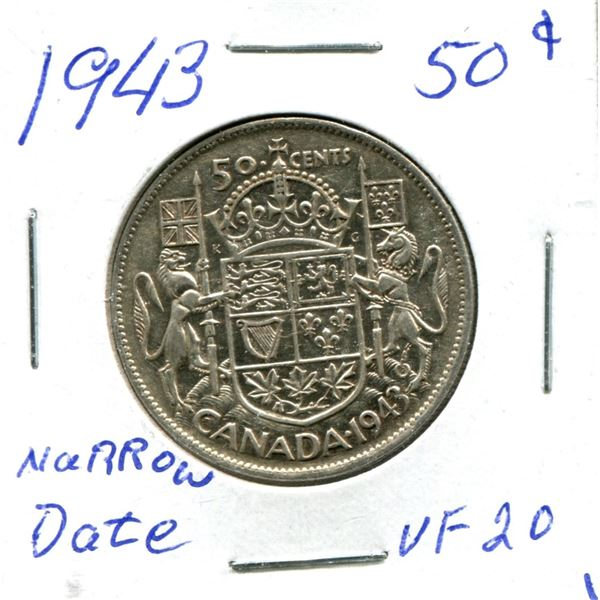 Silver 50 Cent Coin 1943 Narrow Date vf20