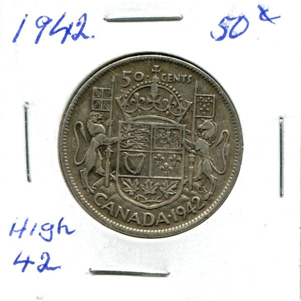 Silver 50 Cent Coin 1942 High 42