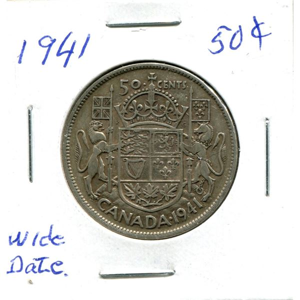 Silver 50 Cent Coin 1941 Wide Date