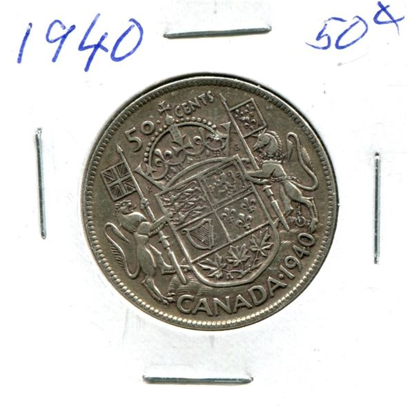 Silver 50 Cent Coin 1940