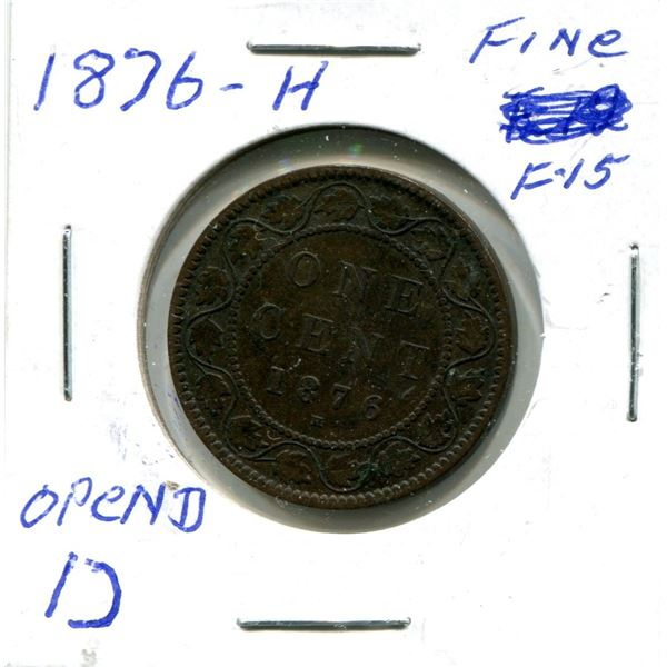 Large One Cent 1876-H Coin