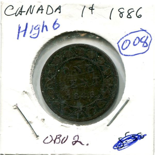 Large One Cent 1886 Coin